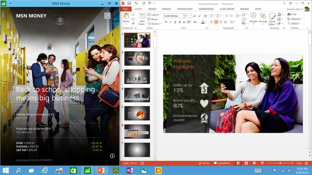 Apps run in Windows or Full Screen. Credit: Microsoft.