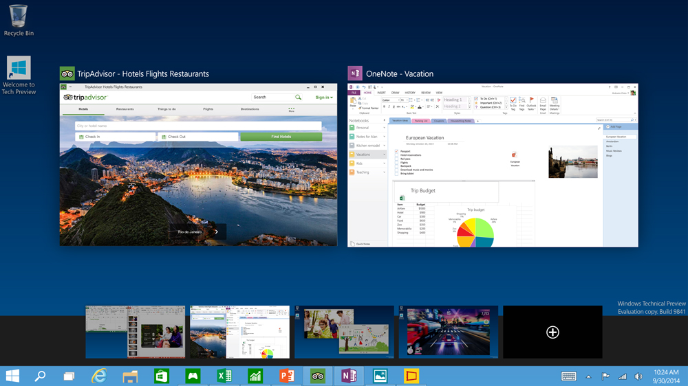 Multiple Desktops. Credit: Microsoft.