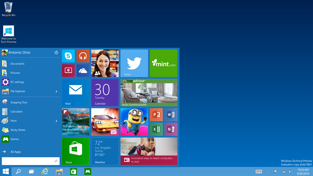 Windows 10 Extended Start Menu. Credit: Microsoft.